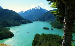 Обои озеро, сша, горы, пейзаж, washington diablo