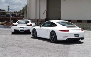 Картинка white, белые, ferrari, феррари, porsche, порше, вид сзади, италия, 458 italia, каррера, 911 carrera