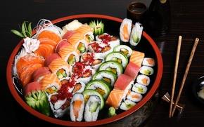 Обои рыба, рис, суши, роллы, морепродукты, ассорти