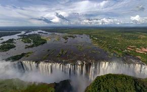 Обои водопад, Виктория, Африка, радуга, брызги