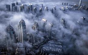 Картинка туман, Дубай, Dubai, небоскрёбы, ОАЭ