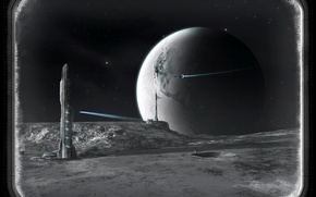 Обои корабль, планета, башня, иллюминатор