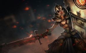 Картинка девушка, меч, воин, арт, щит, League of Legends, Leona