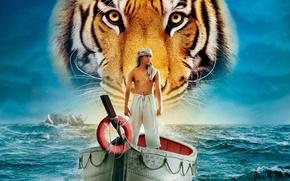 Картинка море, вода, тигр, лодка, человек, корабль, парень, Жизнь Пи, Life of Pi