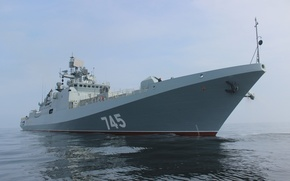 Картинка море, корабль, нос, фрегат, головной, проекта 11356, сторожевой, Адмирал Григорович