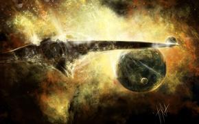 Картинка космос, полет, корабль, планета, спутник, арт, космический