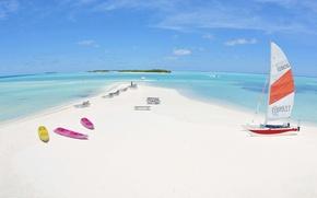 Картинка пляж, тропики, океан, лодки, Мальдивы, экзотика, белый песок