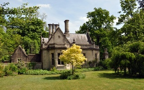 Обои трава, деревья, дом, сад, Великобритания, лужайка, North Rauceby, Lincolnshire