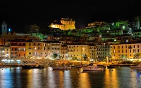 Картинка огни, лодки, ночь, Италия, освещение, Порто Санто Стефано, гавань