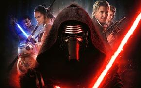 Обои оружие, фантастика, робот, маска, капюшон, постер, персонажи, световой меч, Harrison Ford, Star Wars: Episode VII ...