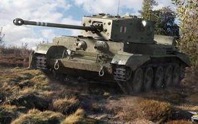 Обои трава, танк, кусты, британский, средний, World of Tanks, Cromwell