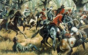 Картинка оружие, масло, картина, бой, лошади, Южная Каролина, схватка, экипировка, холст, художник Дон Трояни, Cowpens, американские …
