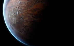 Обои поверхность, свет, планета, тень, атмосфера, space, рельеф