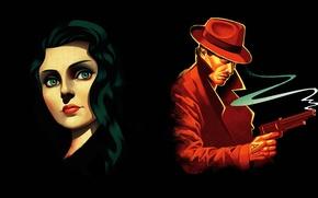 Картинка взгляд, девушка, оружие, шляпа, прическа, черный фон, BioShock Infinite, Элизабет, Букер