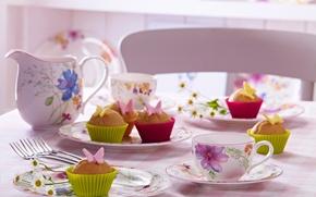 Обои цветы, flowers, cakes, food, cake, десерт, dessert, сладкое, чашки, cups, table, стол, кексы, butterfly, бабочки, ...