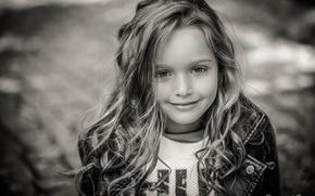 Картинка фото, ребенок, девочка, черно-белое