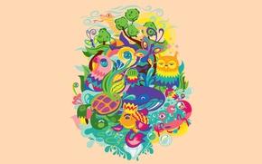 Картинка цветы, краб, флора, вода, солнце, черепаха, животные, небо, сова, природа, фауна, змея, бабочка, рыба, кит, ...