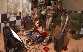 Обои комната, дигитайзер, игрушки, геймпад, монитор, беспорядок, наушники, рисует, робот, колонки