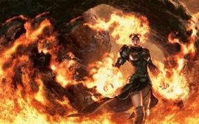 Картинка девушка, огонь, пламя, доспехи, маг, fire, flame, girl, armor, волшебник, Magic The Gathering, wizard, заклинатель, …