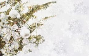 Картинка украшения, снежинки, ветки, блики, праздник, шары, игрушки, елка, блестки, мишура, бант, хвоя