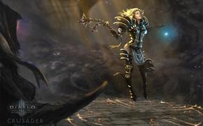 Картинка девушка, свет, оружие, магия, арт, Diablo 3, Reaper of Souls, Crusader