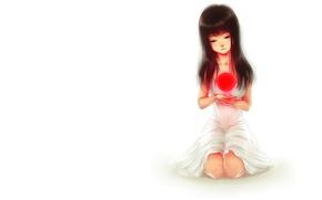 Картинка девушка, красный, шар, минимализм, арт, белый фон, сфера, сидя