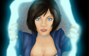 Картинка взгляд, арт, голубые глаза, разрыв, BioShock Infinite, Элизабет