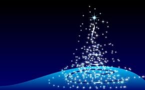 Обои огоньки, елка, новый год, синий