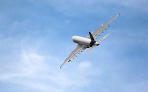 Картинка Небо, Самолет, Авиация, A380, Airbus, В воздухе, Летит