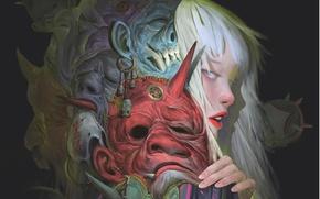Картинка куклы, маски, девушка, профиль, арт