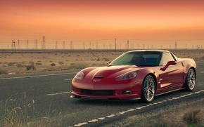 Картинка дорога, закат, Corvette, ZR1, chevrolet, шевролет, корветт
