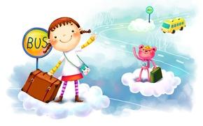 Обои облака, фантазия, рисунок, девочка, автобус, чемодан, улыбки, зверёк