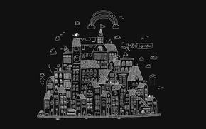 Картинка облака, город, рисунок, нло, дома, радуга, контур, примитивизм