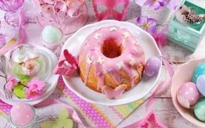 Обои цветы, eggs, spring, Happy, flowers, Пасха, яйца, Easter, кекс, decoration, весна
