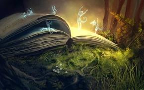 Картинка лес, цветы, магия, духи, арт, книга, папортник