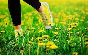Картинка лето, трава, ноги, кеды, одуванчики