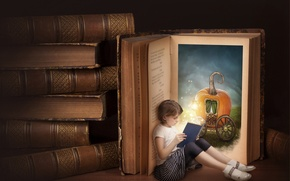 Картинка книги, Алиса, девочка, тыква, карета, чтение