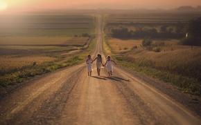 Картинка дорога, радость, девочки, поля, бег