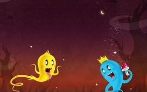 Картинка звезды, ночь, луна, гриб, вектор, приведения