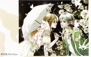 Картинка девушка, розы, зонт, шипы, парень, двое, art, Mao Jun, мотытьки