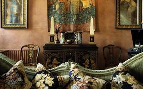 Обои старина, диван, интерьер, гобелен, антиквариат