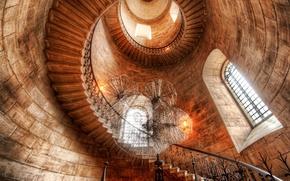 Картинка замок, башня, спираль, окно, лестница