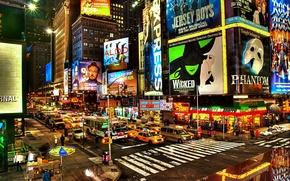 Обои улица, new york, вечер, реклама, перекресток, нью-йорк, машины