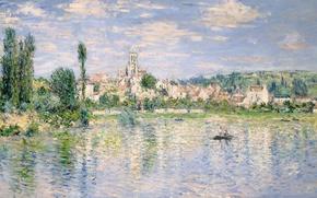 Картинка пейзаж, река, лодка, картина, Клод Моне, Ветёй Летом