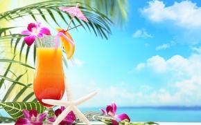 Картинка море, пляж, коктейль, summer, фрукты, beach, fresh, sea, fruit, paradise, drink, cocktail, tropical