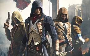 Картинка Assassin's Creed, Arno, Арно, Ubisoft Montreal, Assassin's Creed: Единство, Оружие, Собор, Assassin's Creed: Unity, Капюшон, ...