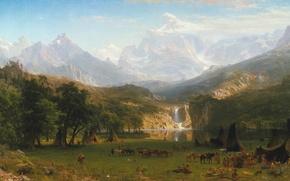 Обои Albert Bierstadt, картина, painting, живопись, Lander's Peak, The Rocky Mountains