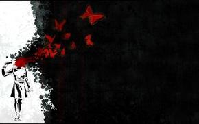 Картинка пустота, бабочки, кровь, выстрел, Женщина, писолет
