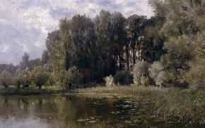 Картинка деревья, пейзаж, природа, картина, заводь, Карлос де Хаэс, Озеро в Неймегене