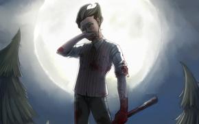 Картинка луна, кровь, игра, ели, арт, парень, Wilson, Don't Starve, dakr0819